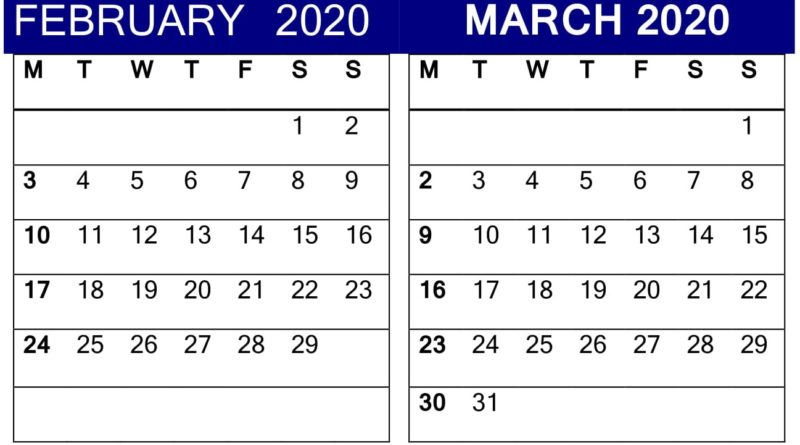 February March 2020 Calendar Template