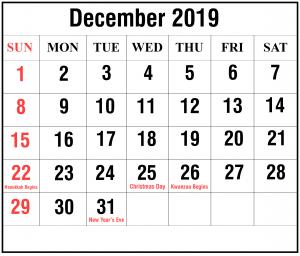 Free Blank Calendar December 2019