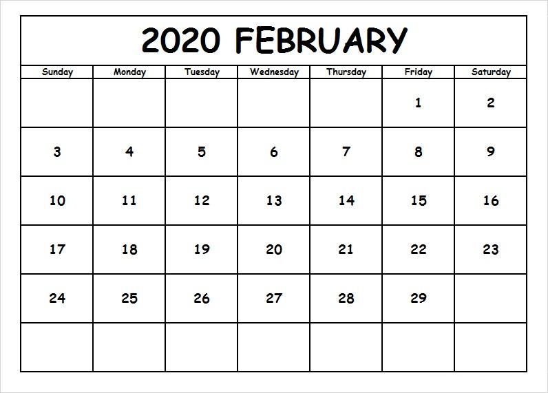 Free Calendar Template February 2020