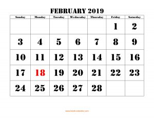 Free Download 2019 February Calendar