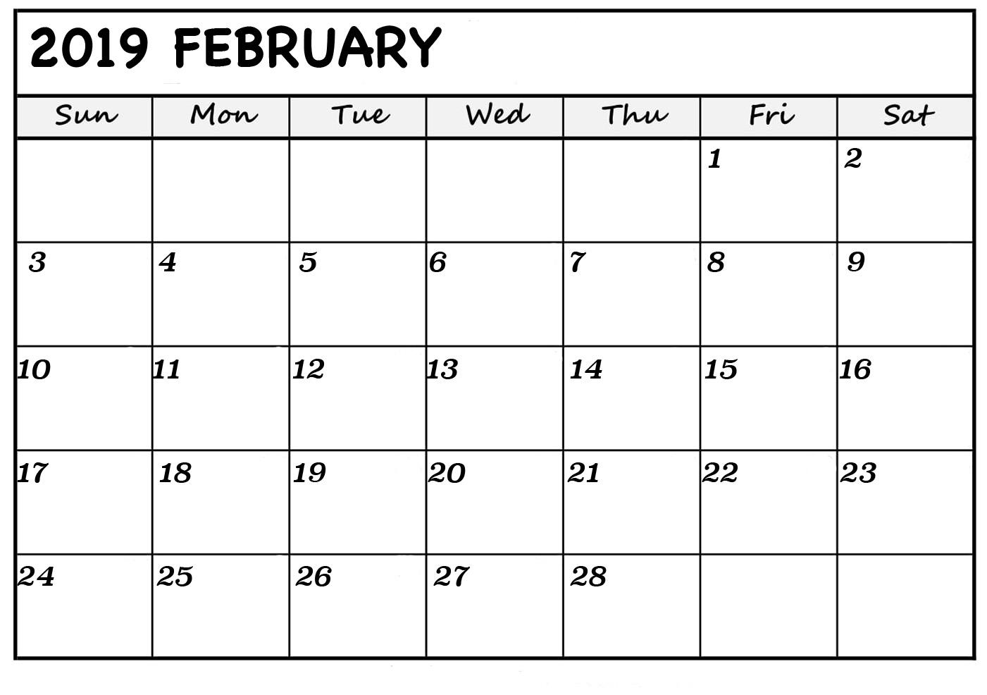 Free Feb 2019 Calendar Printable