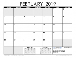 Free February Calendar 2019 Printable