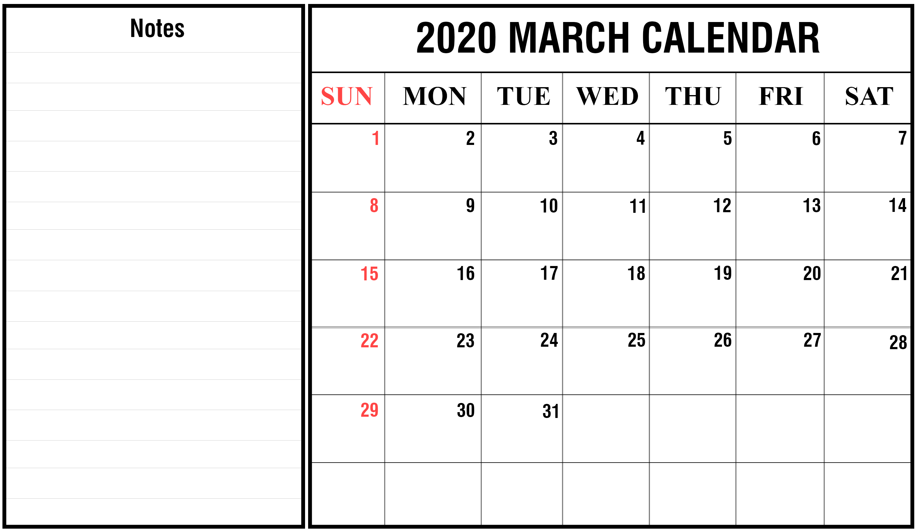 Free March 2020 Calendar Printable Template