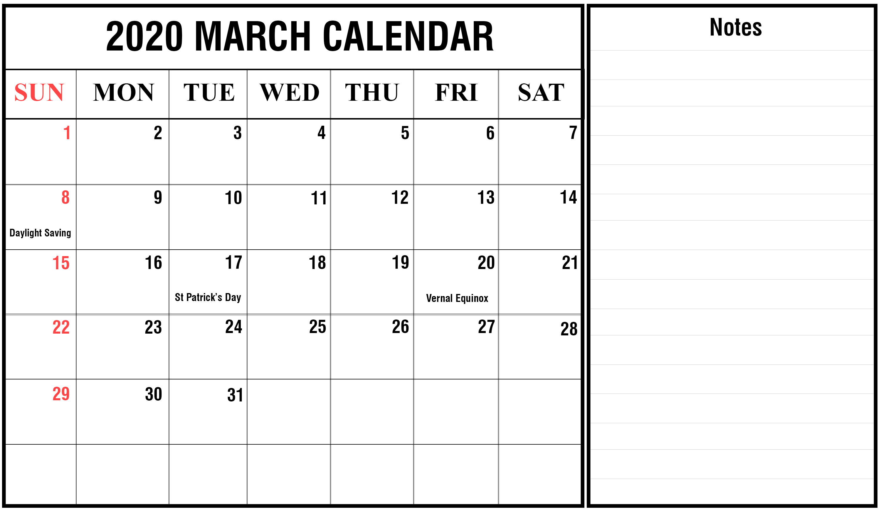 Free March 2020 Calendar With Notes