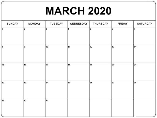 Free March 2020 Printable Calendar