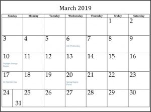 Holidays in March 2019 With Calendar
