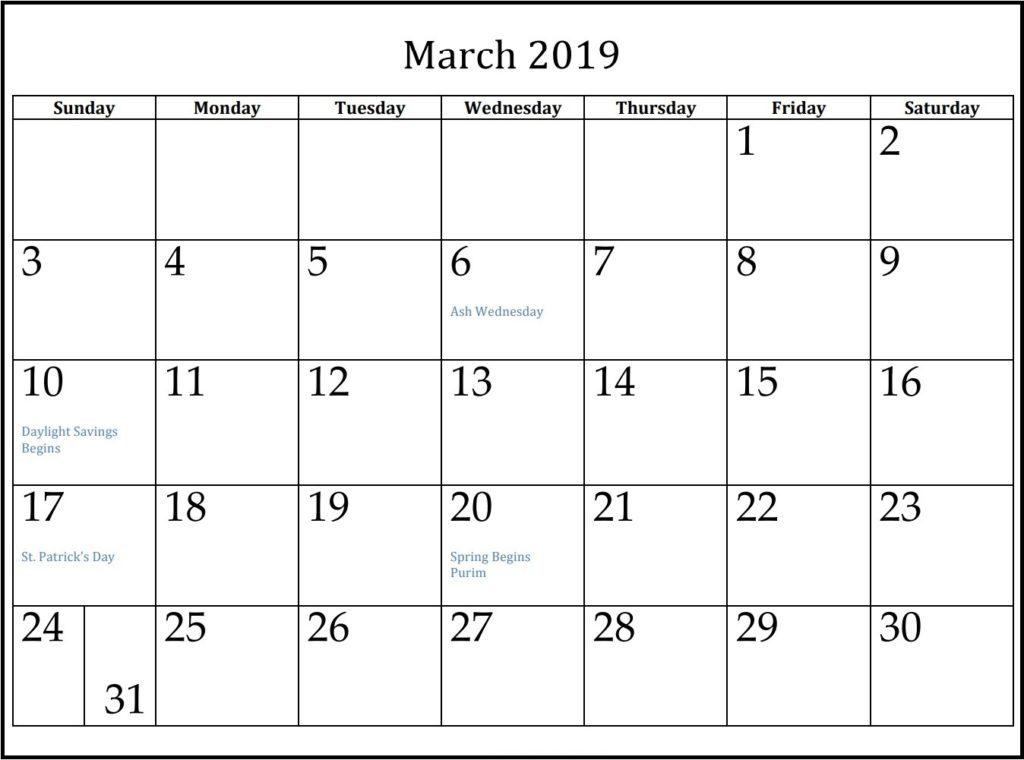 picture regarding Printable March Calendar Pdf known as Vacations within March 2019 With Calendar - Free of charge Printable