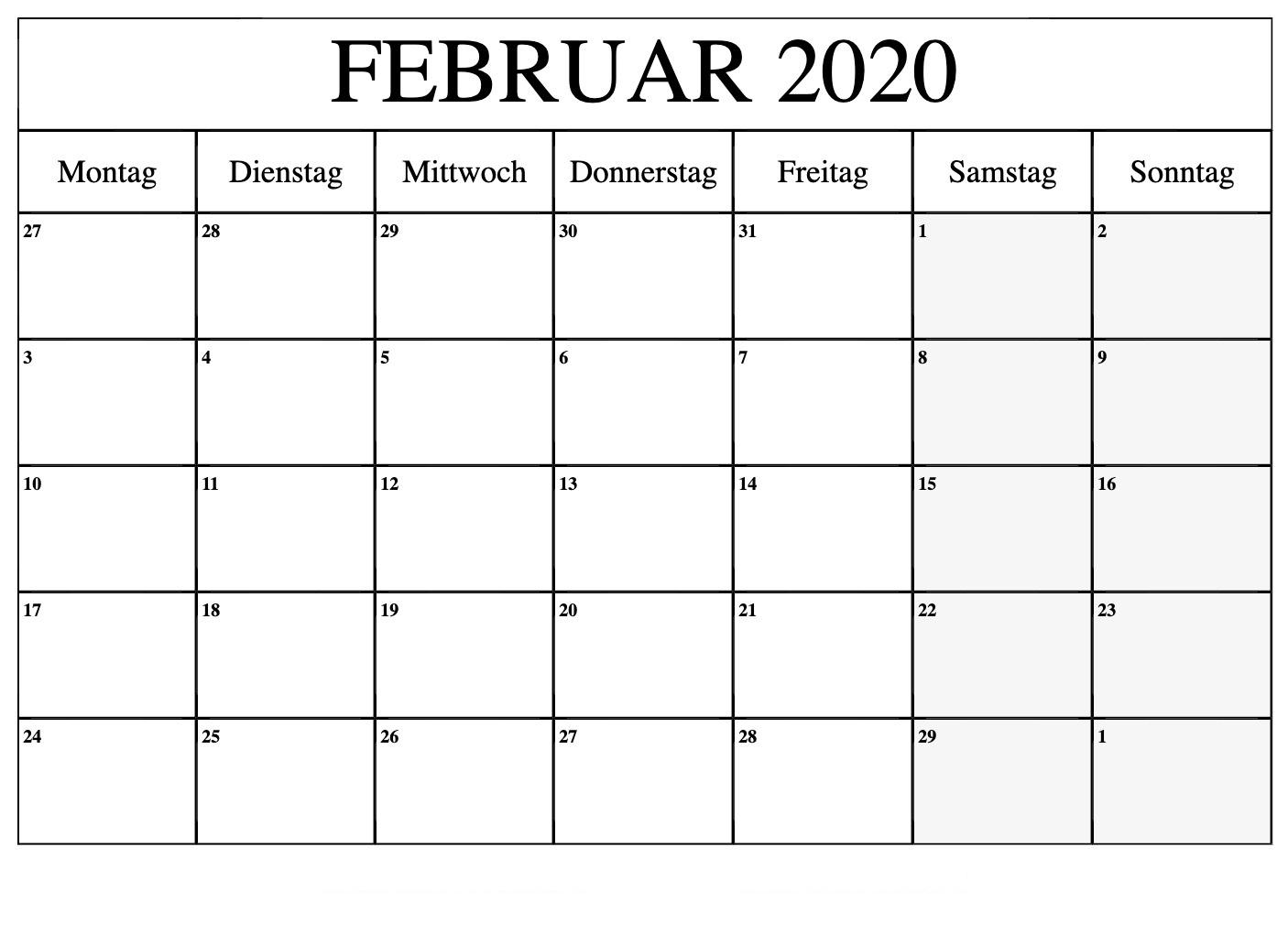 Kostenlos Druckbare Februar 2020 Kalender Vorlage