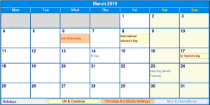 March 2019 Calendar Canada Holidays