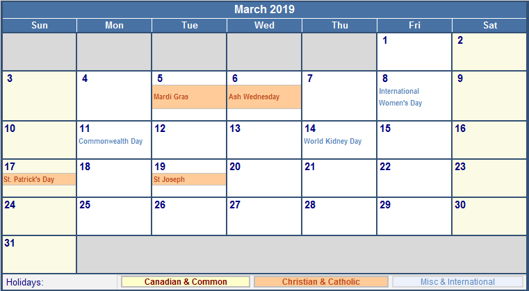 March 2019 Calendar Holidays USA