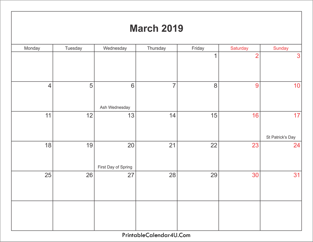 March 2019 Calendar Holidays