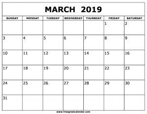 March 2019 Calendar Notes