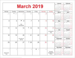 March 2019 Calendar With Holidays Australia