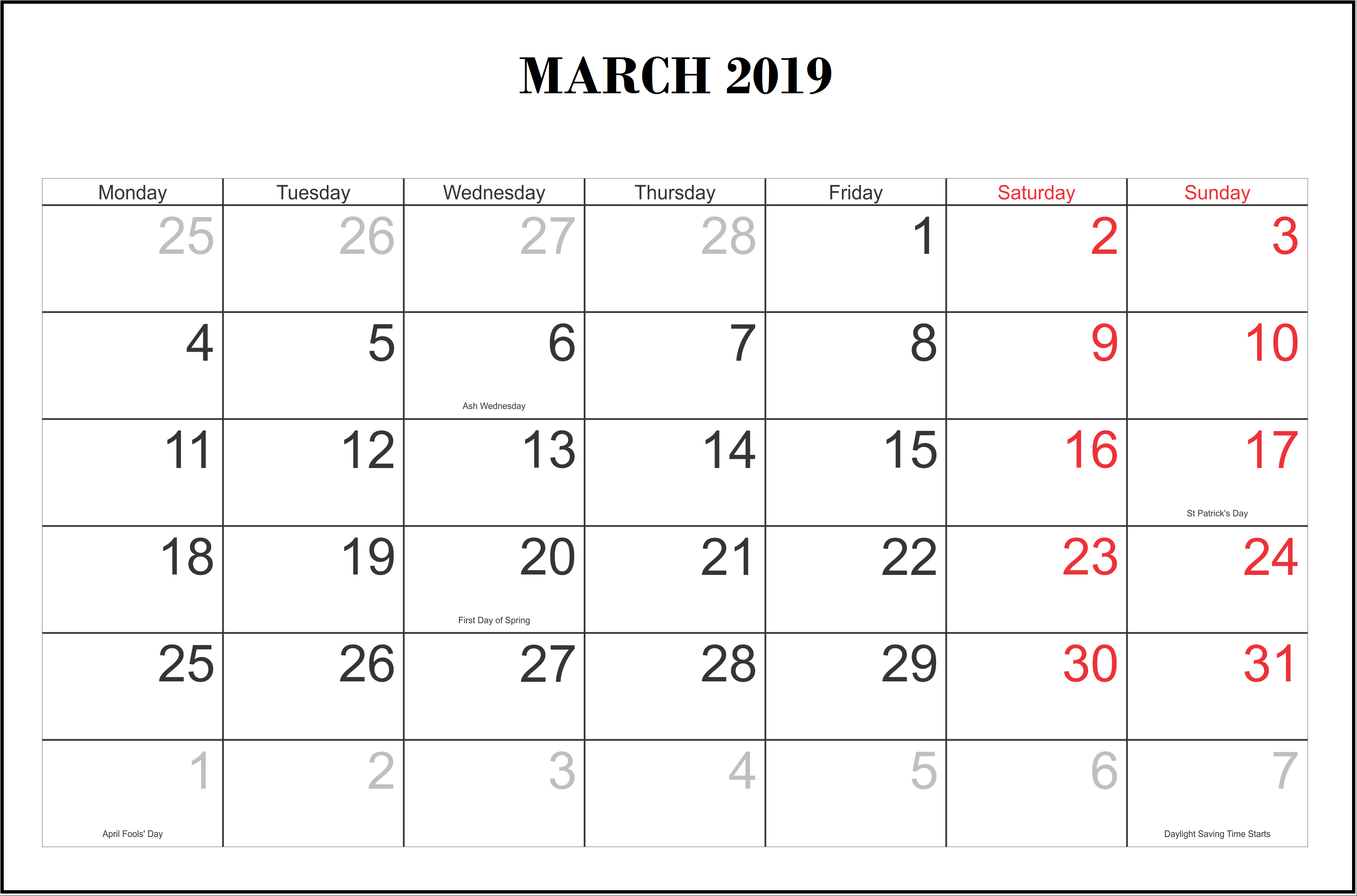 March 2019 Calendar With Holidays US