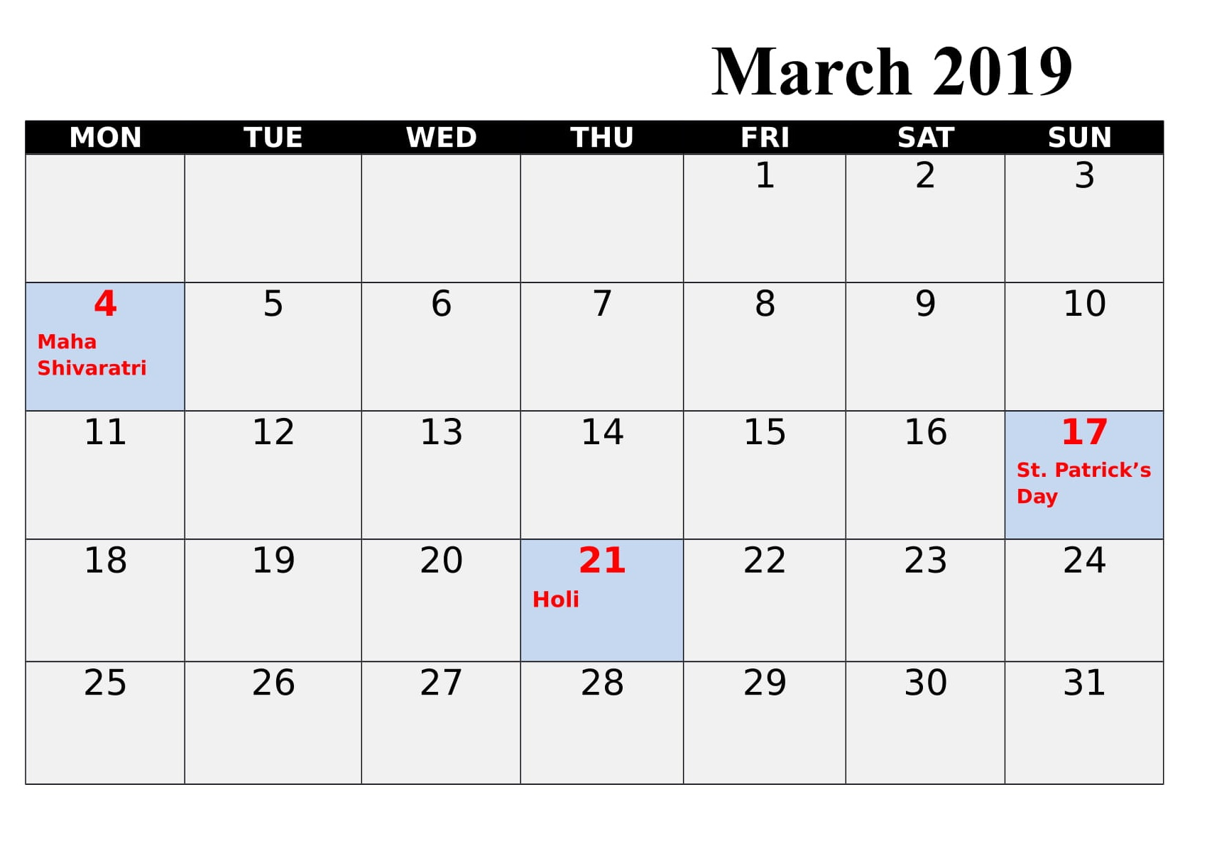 March 2019 Calendar With India Holidays