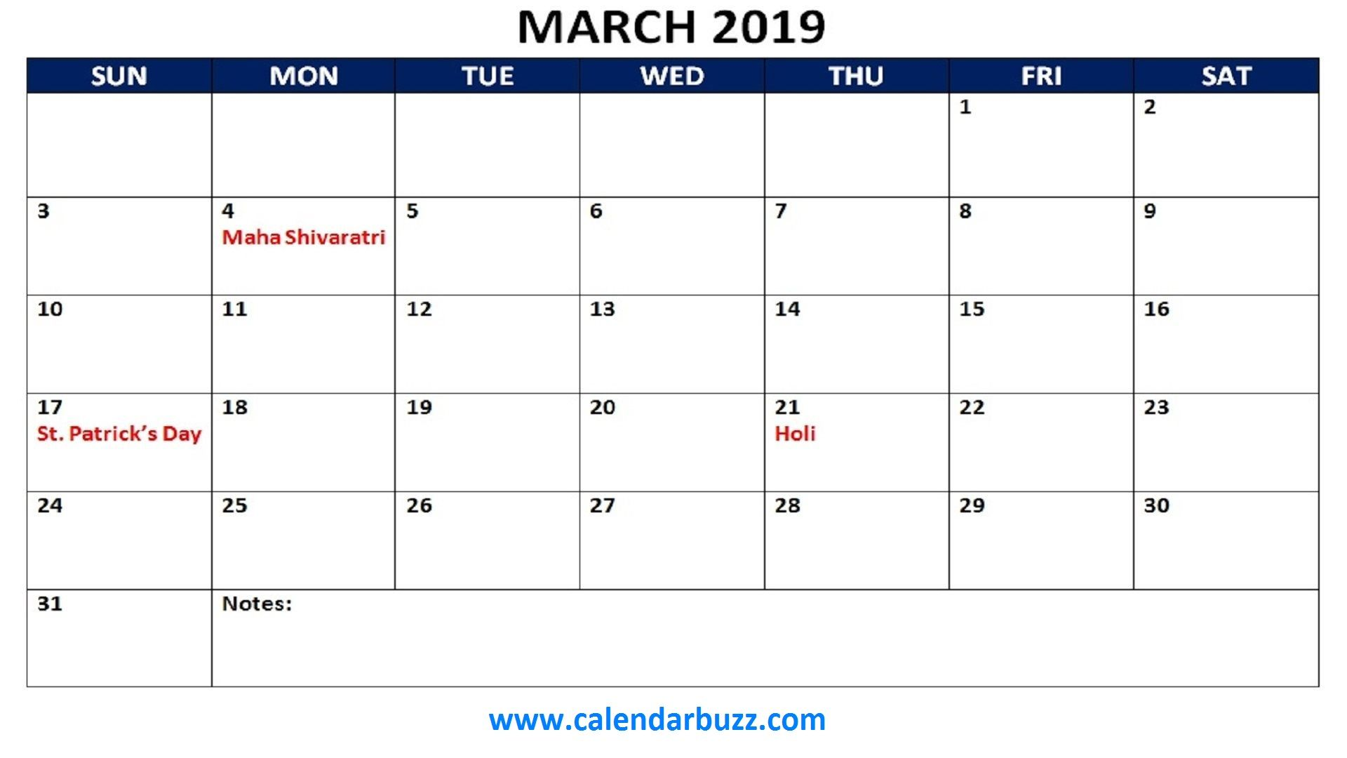 March 2019 Hindu Calendar