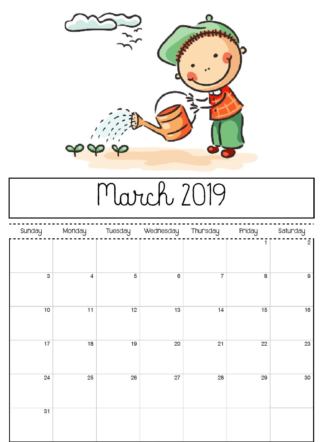 March 2019 Printable Calendar For Kids