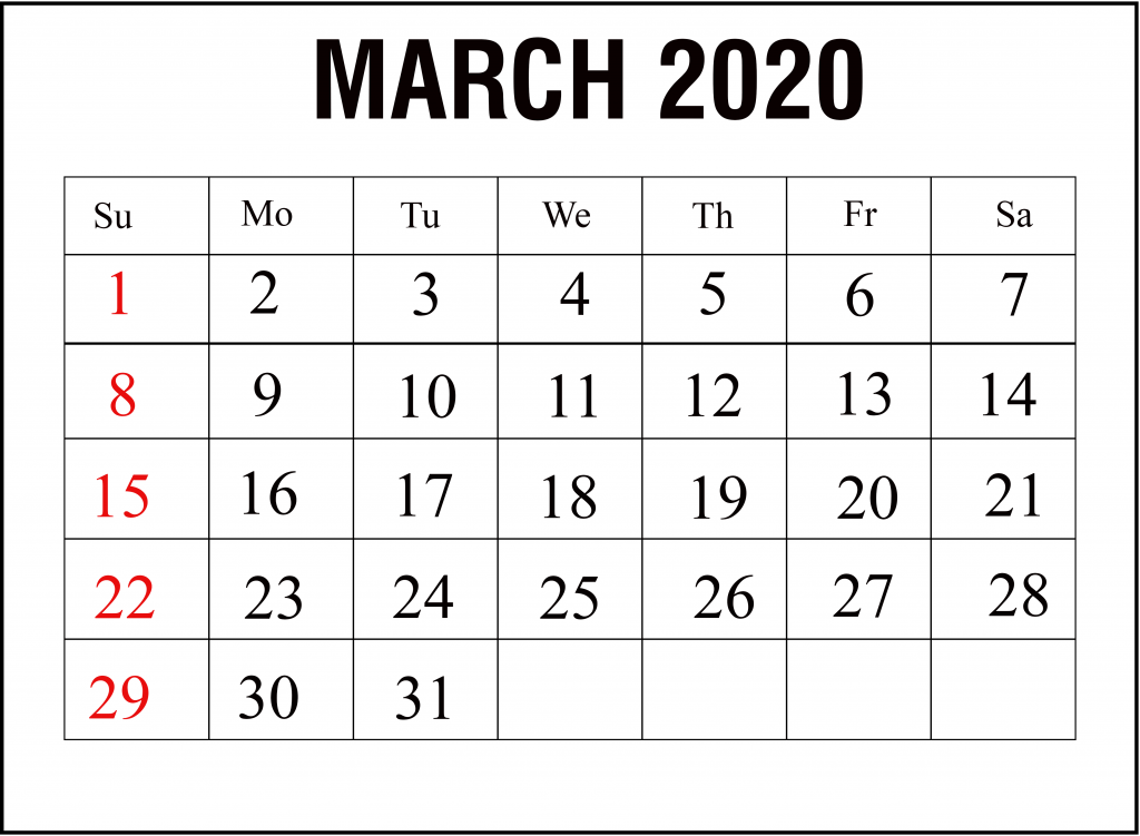 March 2020 Calendar Printable Template