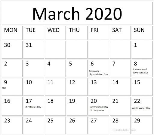 March 2020 Federal Holidays Calendar