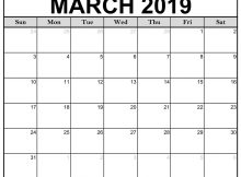 March Calendar 2019 Printable