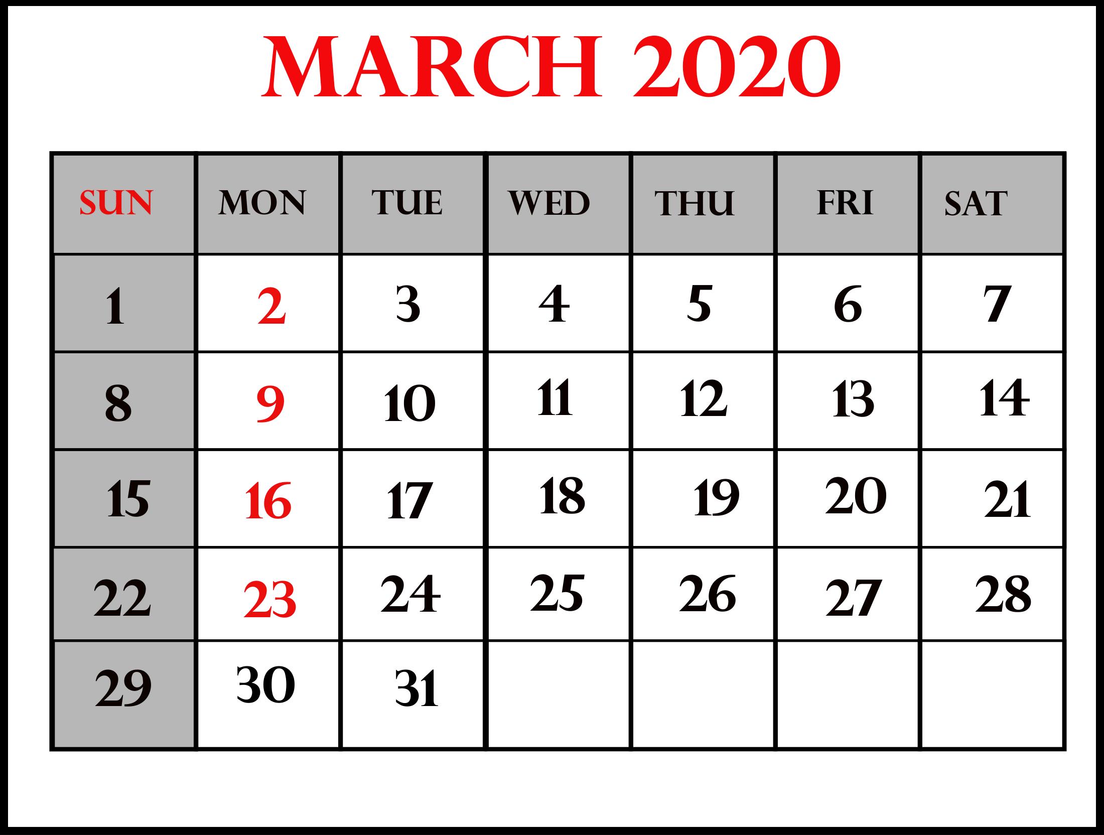 March Calendar 2020 Printable PDF