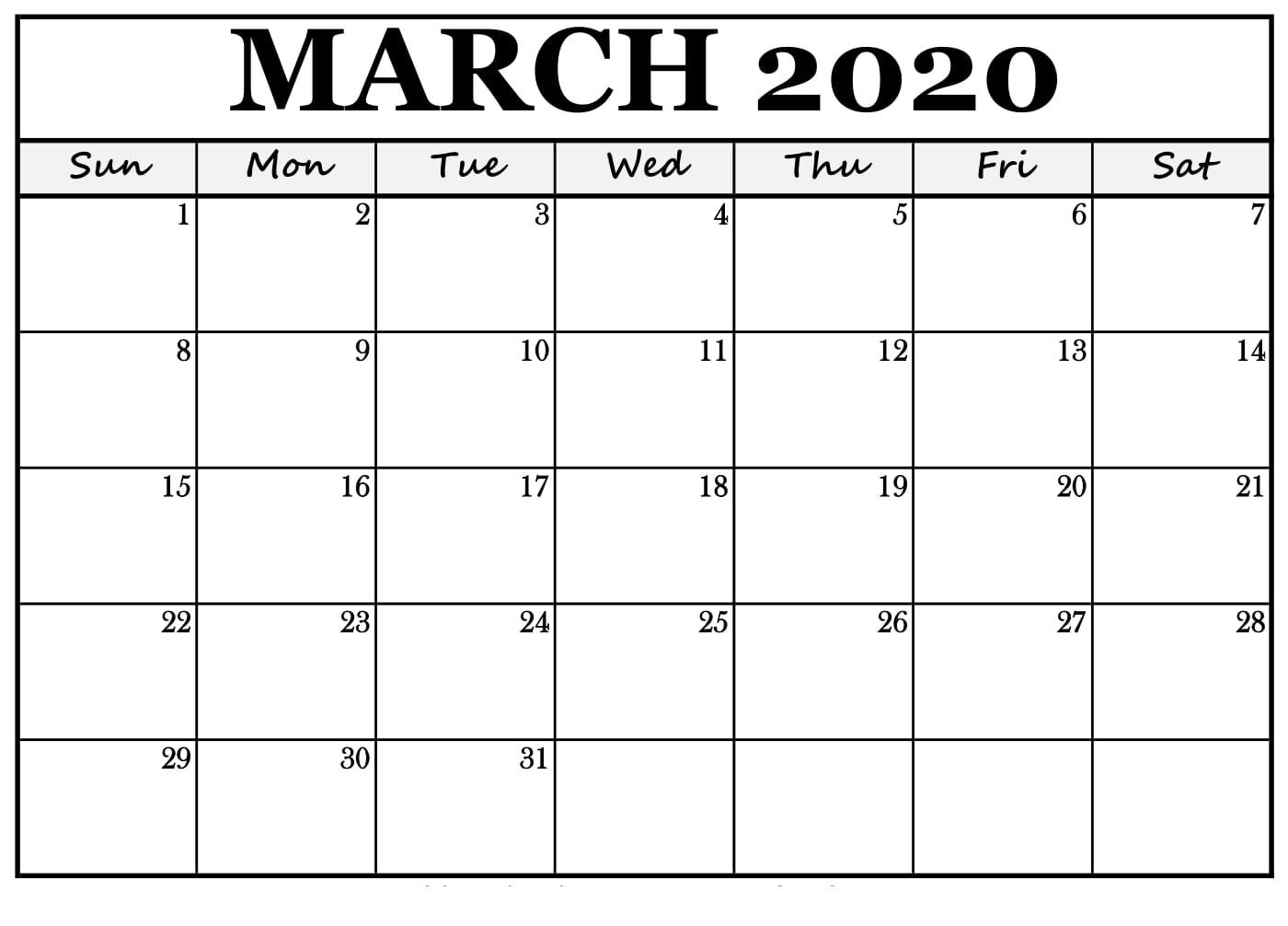 March Calendar Printable 2020