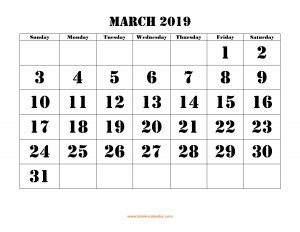 Monthly Blank March Calendar 2019