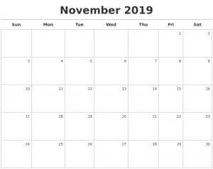 November 2019 Calendar Free Download