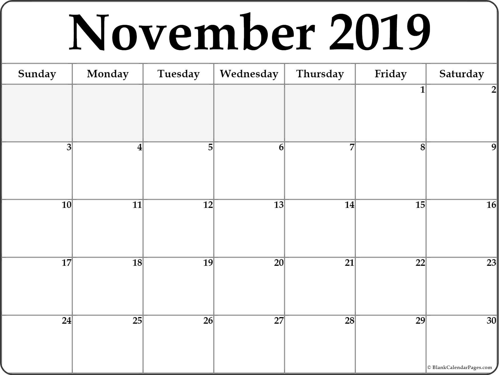 graphic regarding Nov Calendar Printable Pdf named November 2019 Calendar PDF - Cost-free Printable Calendar