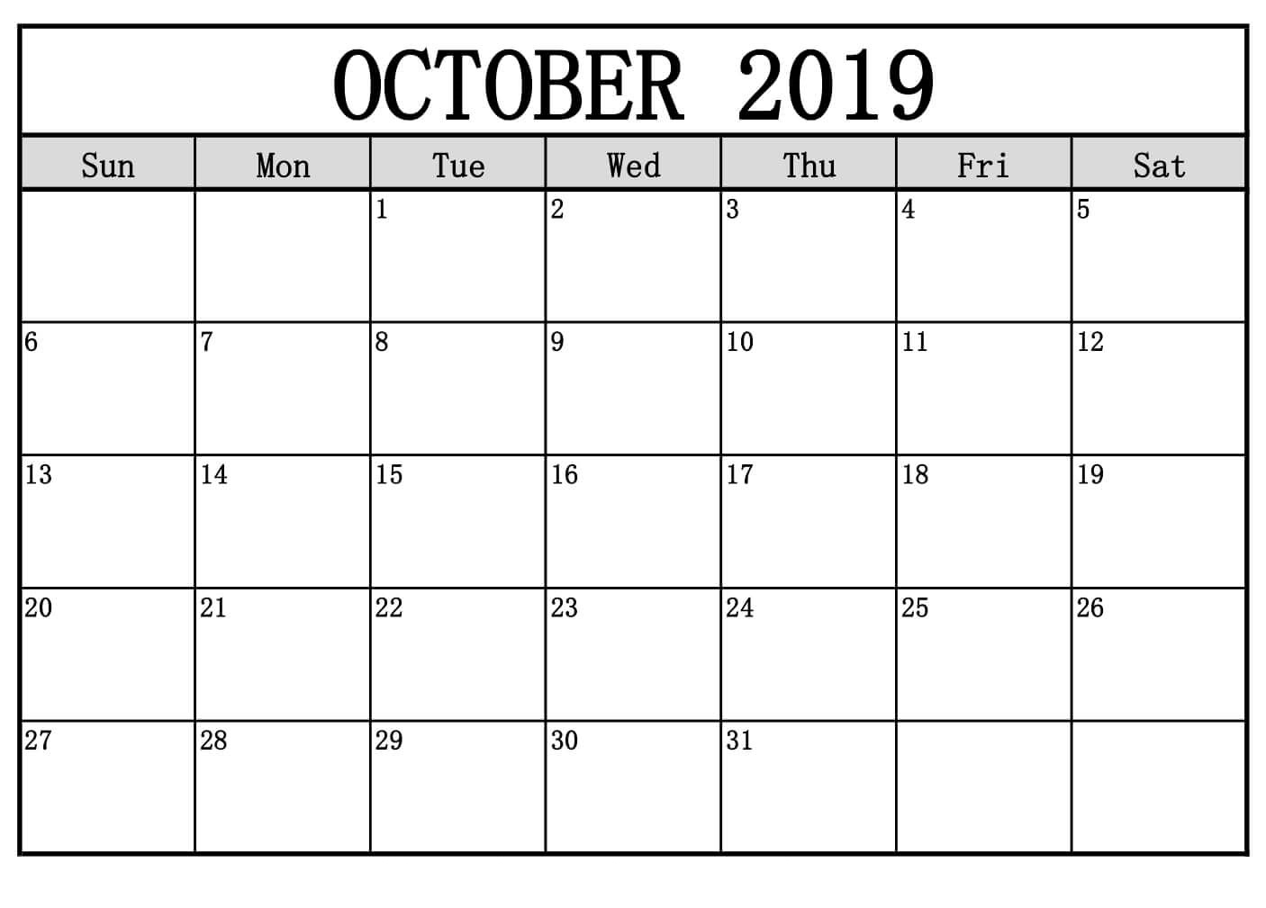 photograph relating to Free Printable October Calendar called Oct 2019 Calendar PDF Phrase Excel Templates