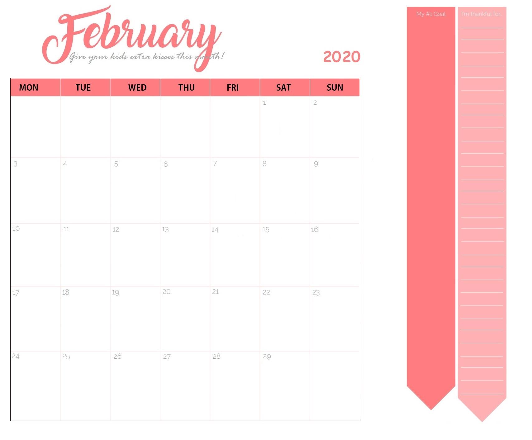 Print February Calendar 2020