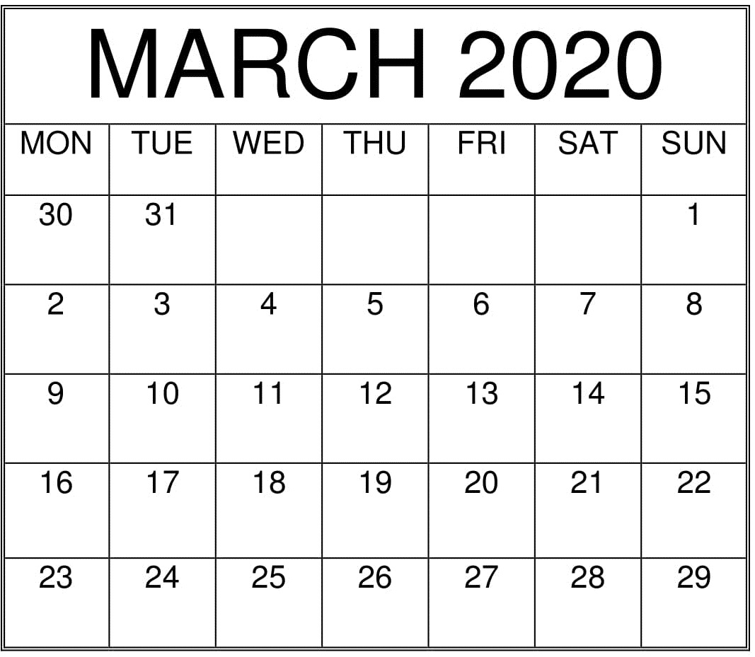 Print March 2020 Calendar