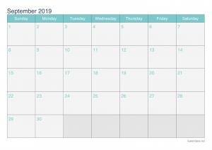 Print September 2019 Calendar PDF