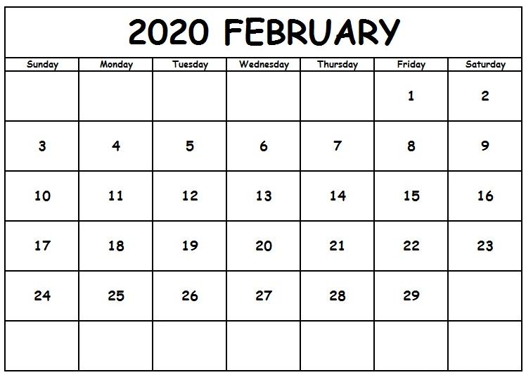 Printable Feb 2020 Calendar Blank