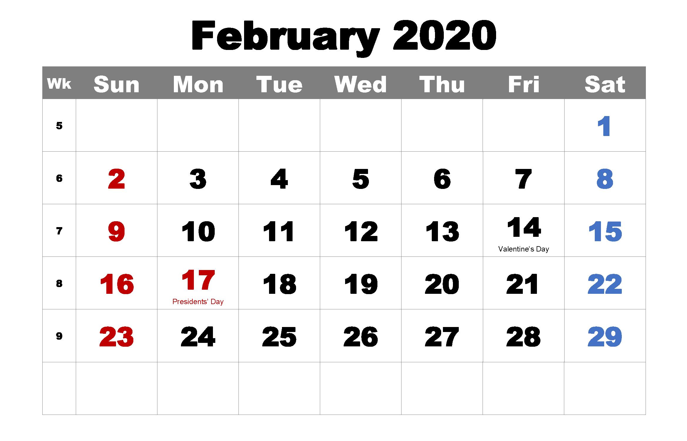 Printable Feb 2020 Calendar with Holidays