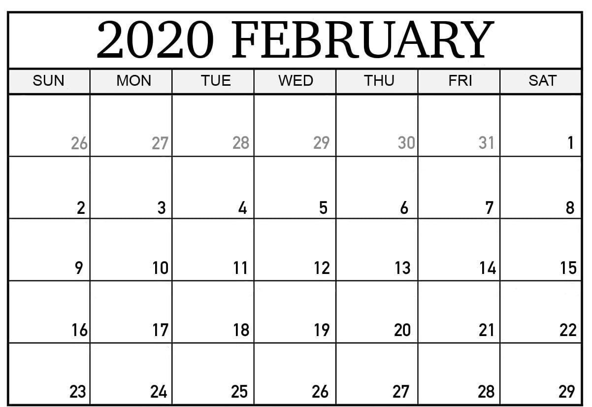 Printable Feb 2020 Calendar