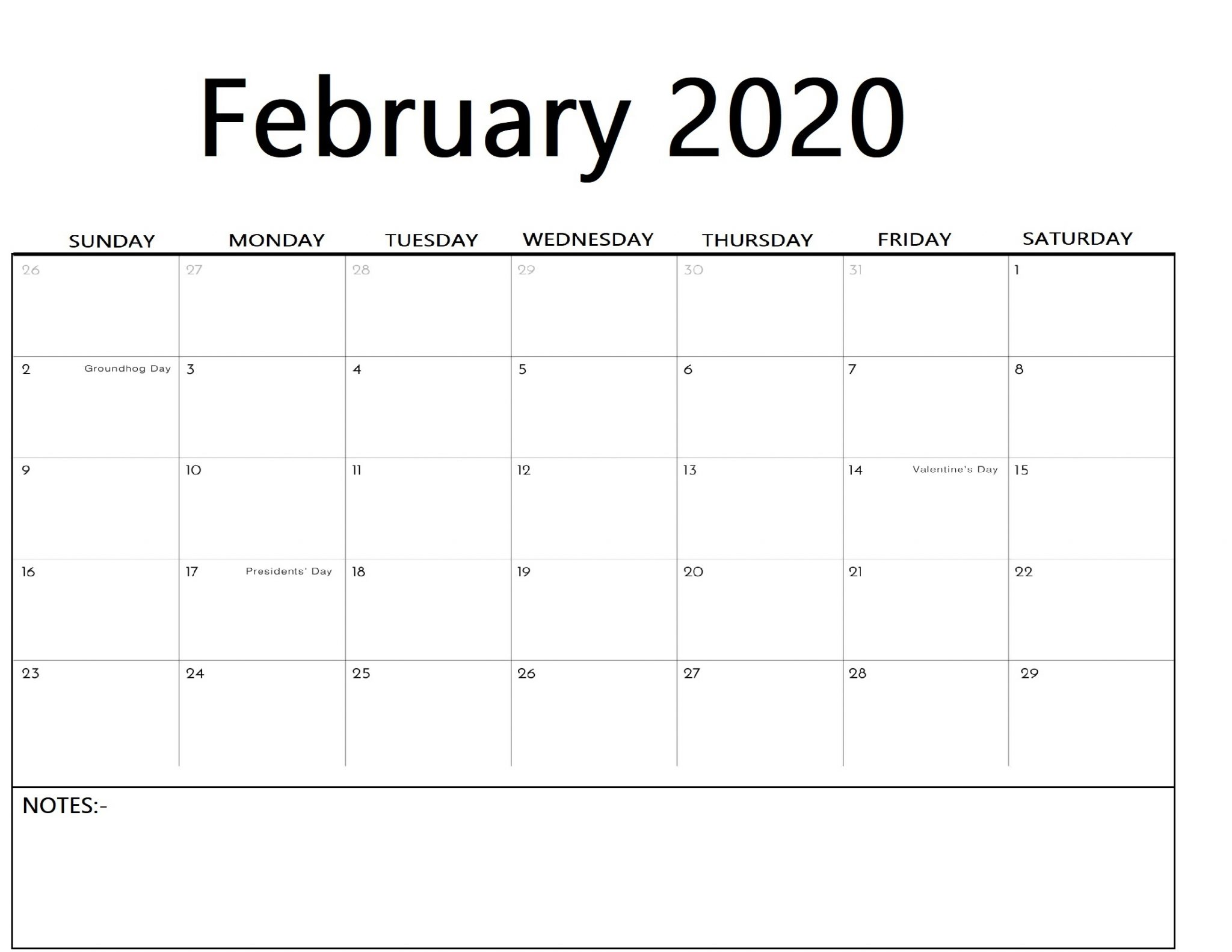 Printable February 2020 Calendar with Notes