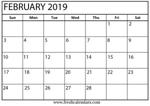 Printable February Calendar 2019