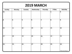 Printable March 2019 Calendar Template