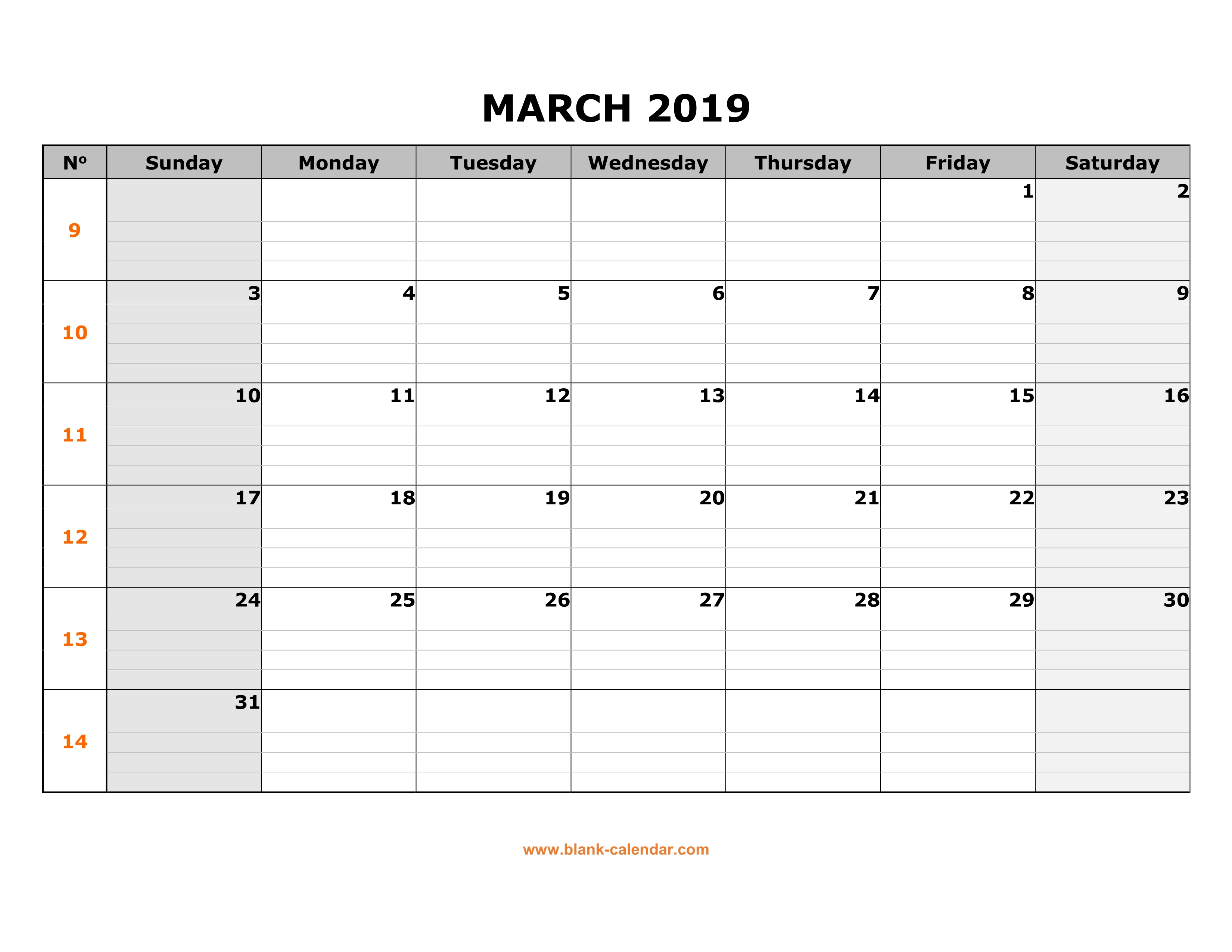 Printable March 2019 Calendar With Notes