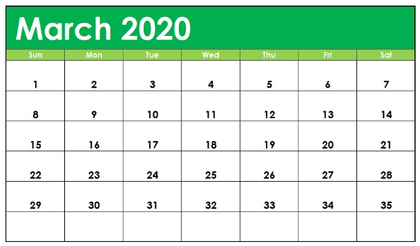 Printable March 2020 Calendar Excel