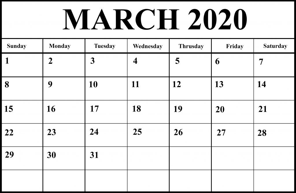 Printable March 2020 Calendar Page