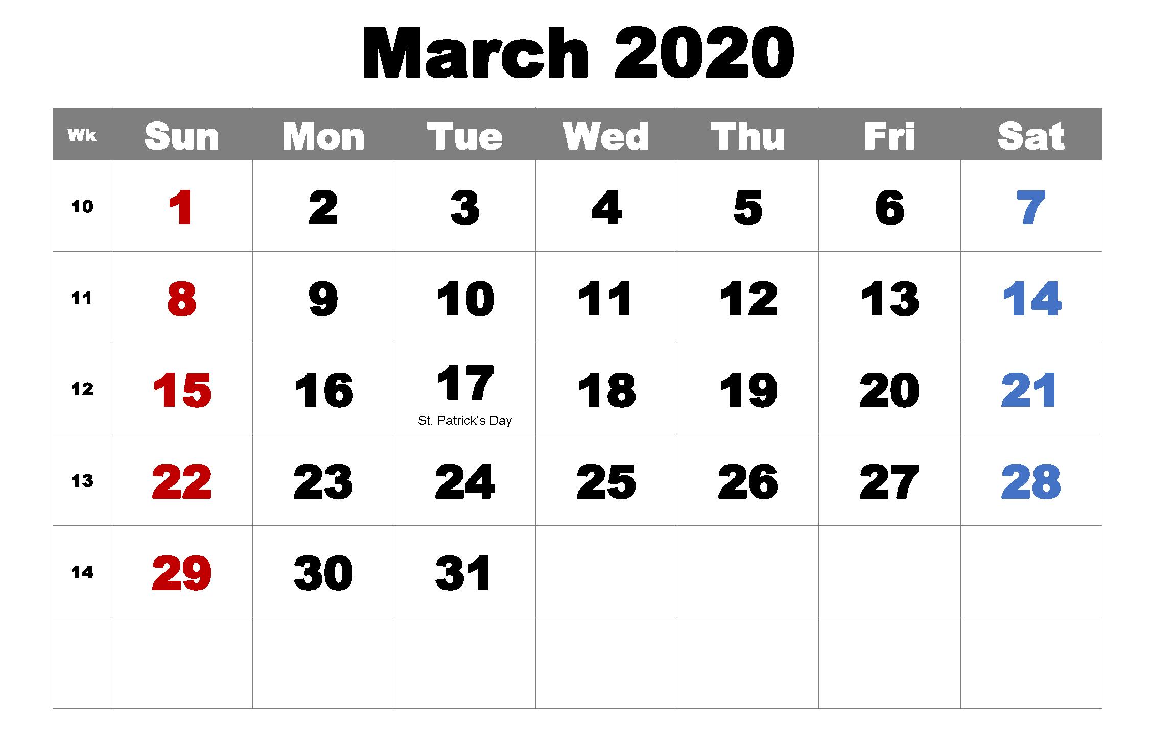Printable March 2020 Holidays Calendar