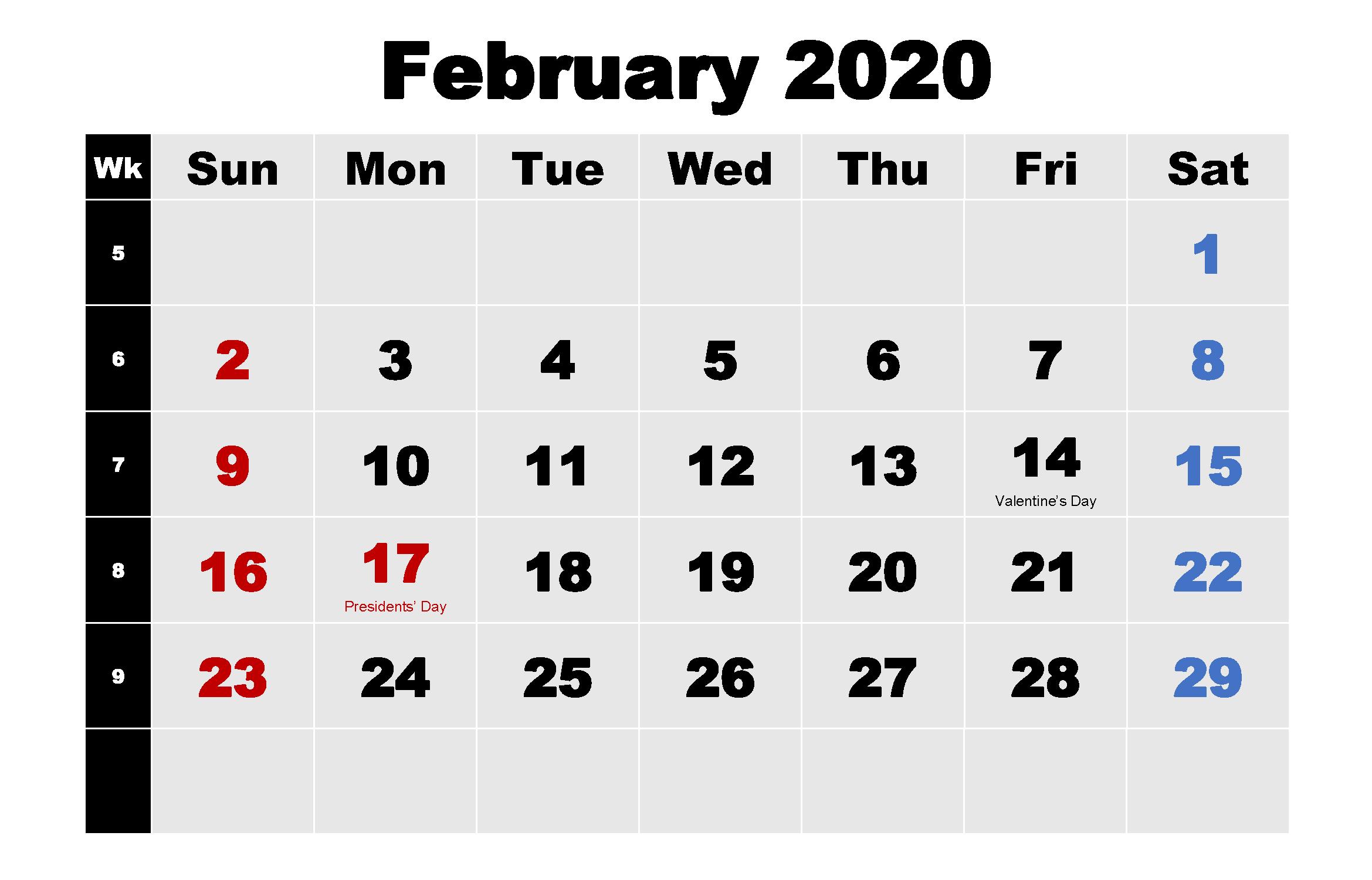Printable Monthly Calendar February 2020