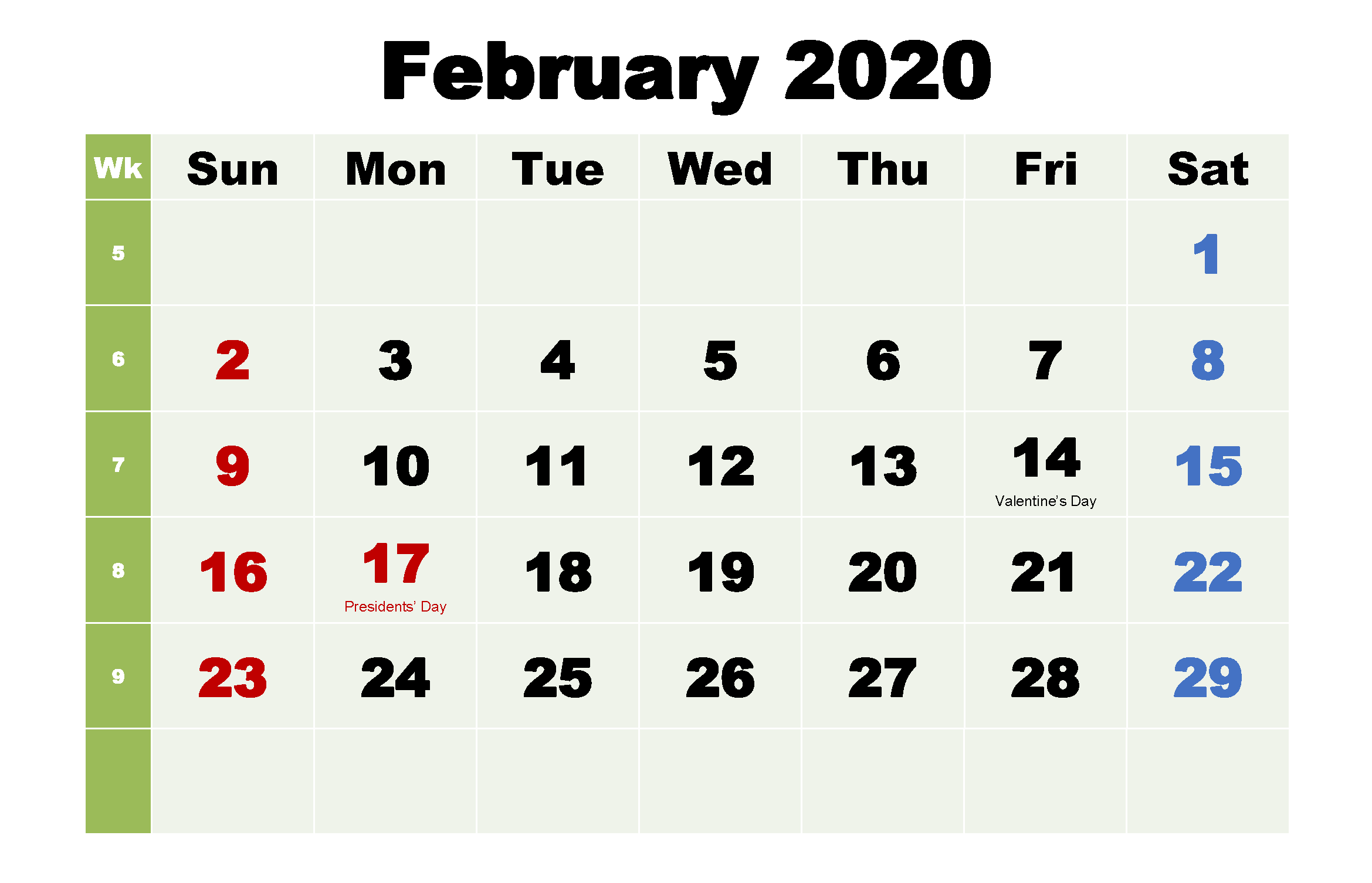 Printable Monthly Calendar February 2020