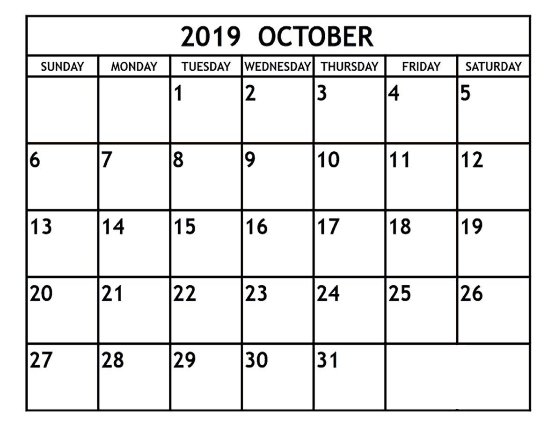 Printable October 2019 Calendar