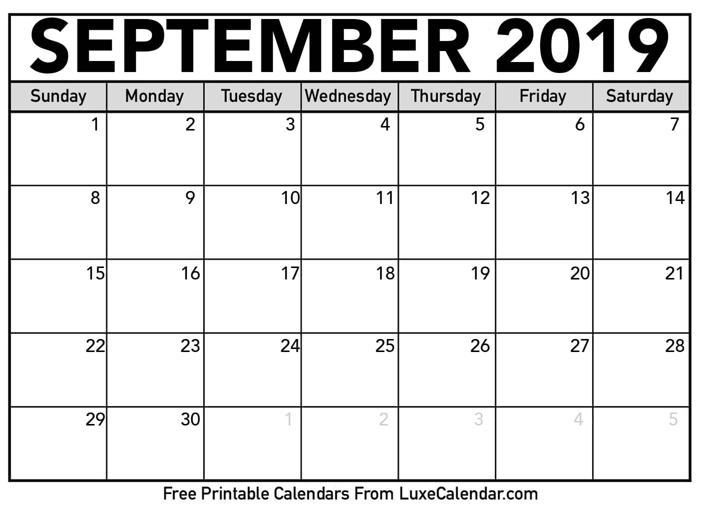 photo relating to Printable Pdf Calendar known as September 2019 Calendar PDF Printable Templates