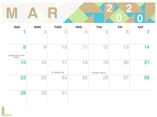 Public Holidays Calendar March 2020