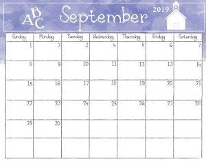 September 2019 Calendar Cute