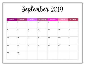 September 2019 Calendar Excel